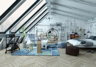 Fototapete Loft Schlafzimmer Mit Schrägen Fenstern