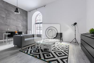 Loft-wohnung in grau fototapete • fototapeten appartment, Couchtisch ...