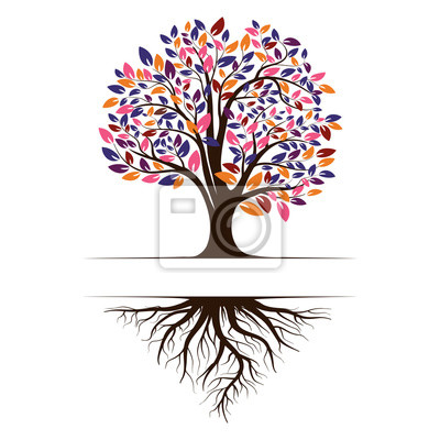 Fototapete Logo of a green life tree with roots and leaves. Vector illustration icon isolated on white background.