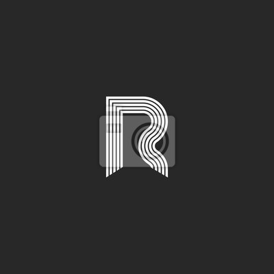 Fototapete Logo R Buchstabe Monogramm Dünne Linien Stil,  Grafik Design Element Visitenkarte Emblem