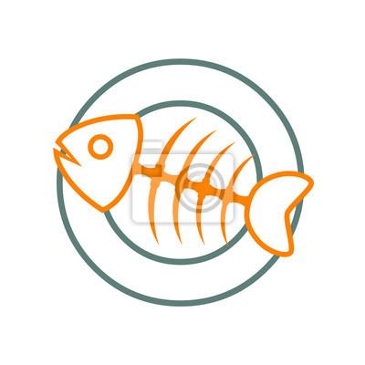 Logotipo Trazo Espina De Pescado Naranja Und Plato Gris En Fondo