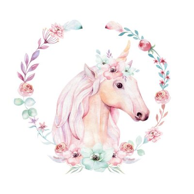 Lokalisiertes Nettes Aquarell Unicorn Clipart Mit Blumen
