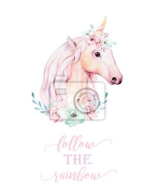Kinderzimmer clipart  Lokalisiertes nettes aquarell unicorn clipart mit blumen ...