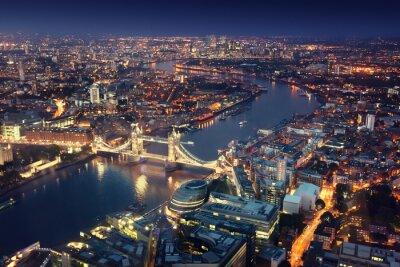 Fototapete London in der Nacht mit städtischen Architekturen und Tower Bridge
