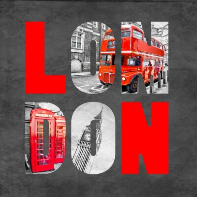 Fototapete London letters with images on  black background