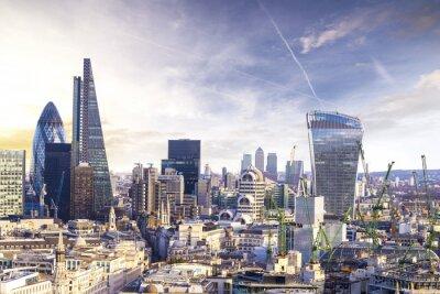 Fototapete London Sonnenuntergang, Blick auf Business-modernen Stadtviertel