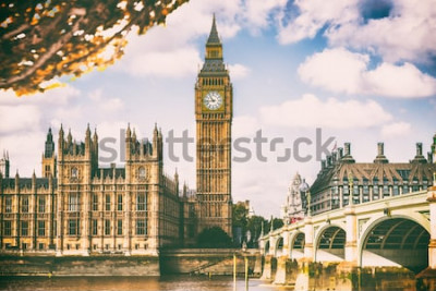 Fototapete London-Stadt im Herbstlaub - Autum Europe-Bestimmungsortreise-Ikonenhintergrund.