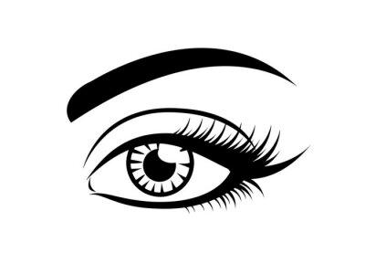 Fototapete Longe eyelashes icon, black vector on white. Female eye glamour icon with brow and lashes.