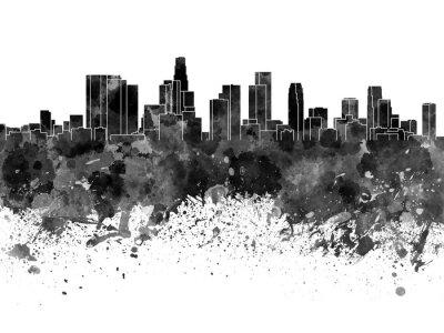 Fototapete Los Angeles Skyline in schwarzem Aquarell auf weißem Hintergrund