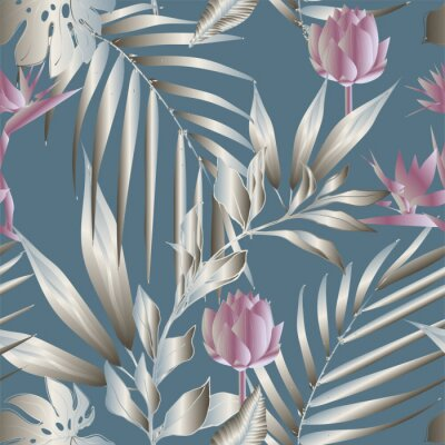Fototapete Lotus flowers surrounded by palm leaves seamless pattern. Vector illustration with tropical plants.