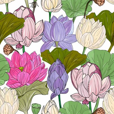 Fototapete Lotus or water lilies seamless pattern. Elegant tropical floral background. For packaging, print, fabric, wallpaper, invitations.