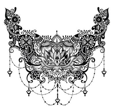 Lotus tätowierung. vorlage für tattoo-design mit mehndi elemente ...