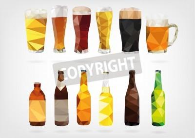 Fototapete Low Poly Beer Bottles