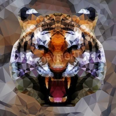 Fototapete Low poly design. Tiger illustration.