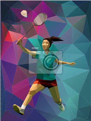 Low Poly Dreieck Mädchen Badmintonspieler