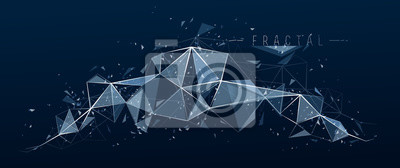 Fototapete Low poly particles abstract vector background, polygonal fractal design, 3D dimensional element with connected lines, mesh object technology and science theme.