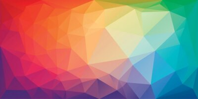 Fototapete Low poly triangular background in bright rainbow colors. Colorful polygonal banner template. Multicolor backdrop in origami style. Vector eps8 illustration with irregular triangles.