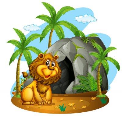 Fototapete Löwe sitzt vor der Höhle