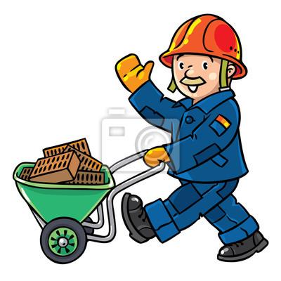 Lustige Bauarbeiter Mit Wagen Fototapete Fototapeten Bauarbeiten