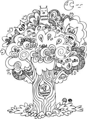 Fototapete Lustige Baum mit niedlichen heult