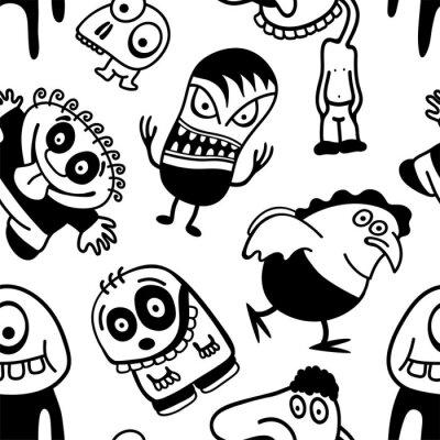 lustige comic figuren nahtlose muster fototapete fototapeten alien gesch pf monster. Black Bedroom Furniture Sets. Home Design Ideas