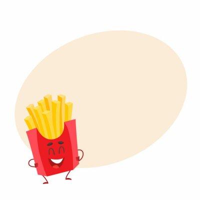Lustige französisch frites fast food kinder menü charakter, cartoon ...