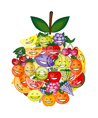 Lustige Früchte Zeichen lächelnd zusammen, Apfel-Form