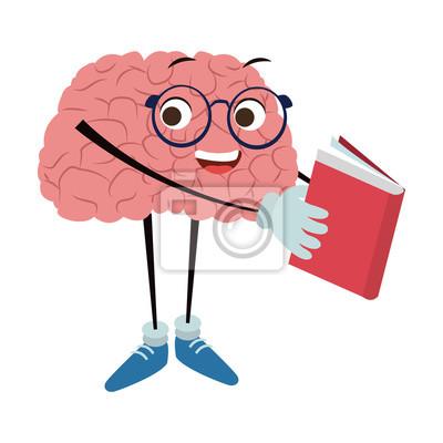 Lustige Gehirnkarikatur, die ein Buchvektorillustrations-Grafikdesign liest