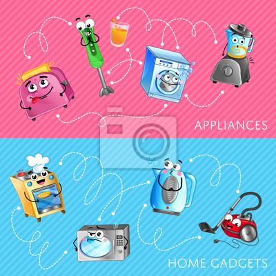 Lustige Haushaltsgerate Banner Set Mikrowelle Toaster Mixer