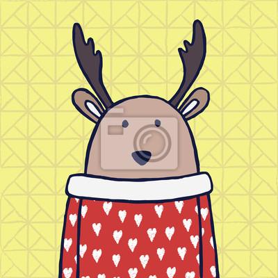 Gelbe Karte Lustig.Fototapete Lustige Hirsche Im Roten Pullover Mit Weißen Herzen Im Gelben