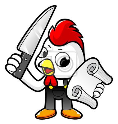 Lustige Huhn Charakter Mit Einem Messer Und Bestellen Blatt