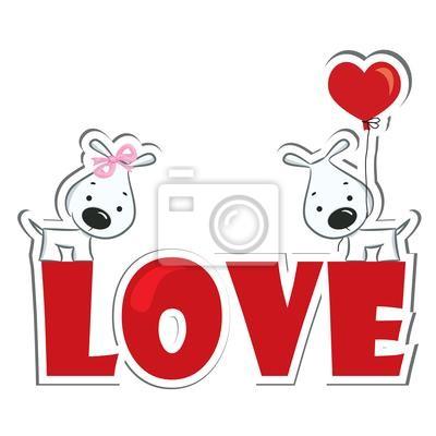 Lustige Hunde Paar Auf Dem Roten Wort Liebe Aufkleber Fototapete