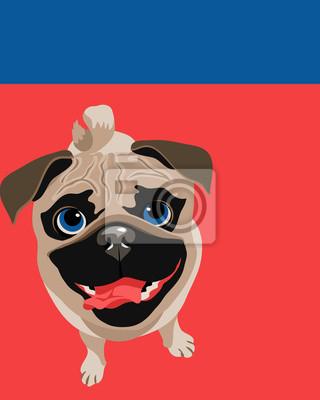 Lustige Illustration eines Mops Hund
