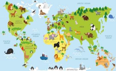 Fototapete Lustige Karikaturweltkarte mit traditionellen Tieren aller Kontinente und Ozeane. Vektor-Illustration für Vorschul-Bildung und Kinder-Design