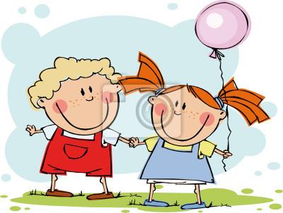 Lustige kinder mit ballon fototapete • fototapeten Jungen, Leinen ...