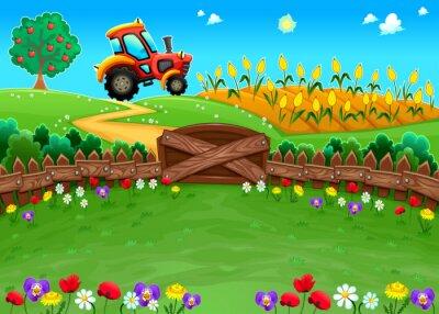 Fototapete Lustige Landschaft mit Traktor und Getreidefeld.