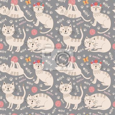 Lustige nahtlose Muster mit niedlichen Katzen. Vector Textur ideal für kindisch Tuch Design, Tapeten, Textil-, Verpackungs- und andere Muster füllt