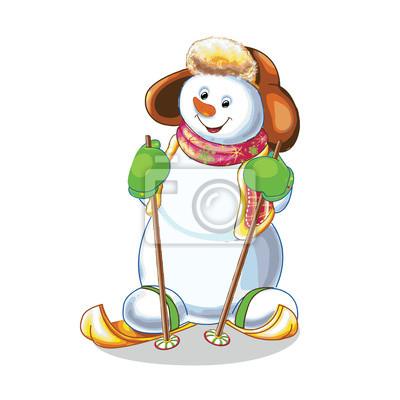 Lustige Schneemann Skifahren Auf Weißem Hintergrund Fototapete