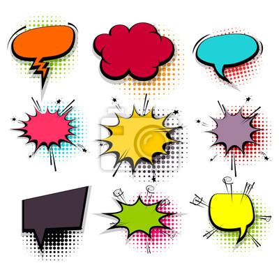 Lustige set farbige comic-sprechblasen fototapete • fototapeten ...