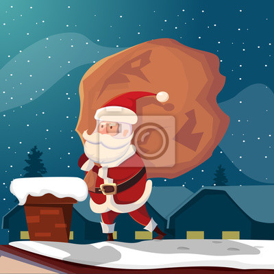 Lustige weihnachtsmann auf dach illustration fototapete ...