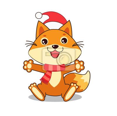 Lustiger fox wünschte ein glückliches neues jahr. weihnachten ...