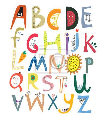 Lustiges Alphabet für Kinder mit Gesichtern, Gemüse, Blumen und anim