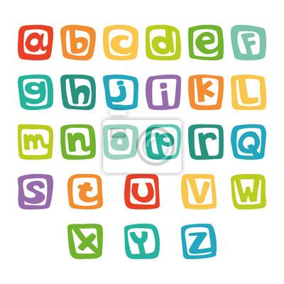 Lustiges englisches Alphabet, handgezeichnetes Alphabet in bunten Quadraten
