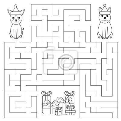 Lustiges labyrinth für kinder. hunde suchen nach geschenken ...