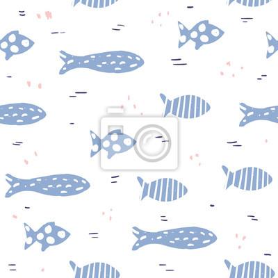 Fototapete Lustiges nahtloses Muster mit Hand gezeichneten schwimmenden Fischen. Vektor-Illustration.
