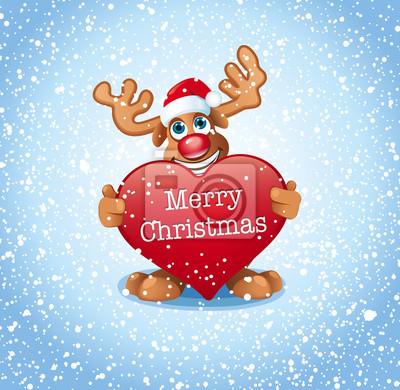 Frohe Weihnachten Herz.Fototapete Lustiges Rentier Halt Herz Mit Schrift Frohe Weihnachten