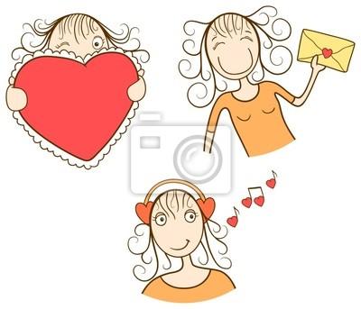 Lustiges valentinstag mädchen (mit herz, umschlag, musik). vector ...