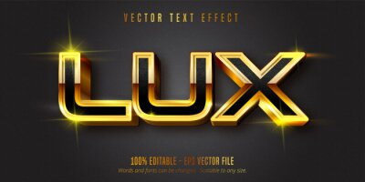 Fototapete Lux text, shiny gold style editable text effect