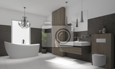 Luxuriöse moderne badezimmer mit freistehender badewanne fototapete ...