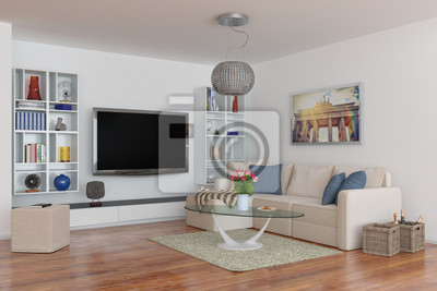 Luxuriöse penthouse wohnung mit einem wohnzimmer fototapete ...